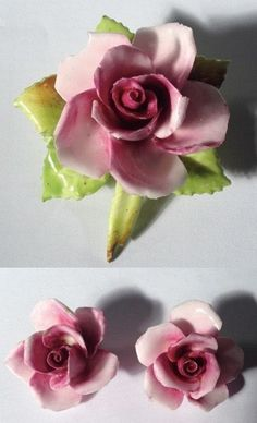 VTG 50s English Bone China Porcelain Rose Flower Clip Ons Floral Brooch Pin Set   06.50