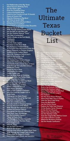 The Ultimate Bucket List: 100 Things to Do In Texas . The Ultimate Bucket List: 100 Things to Do In Texas … The Ultimate Bucket List: 100 Things to Do In Texas Texas Vacations, Texas Roadtrip, Texas Travel, Travel Usa, Texas Getaways, Weekend Getaways, Dream Vacations, Austin Texas, Living In Houston Texas