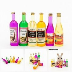 Fruit Juices and Wine Bottles www.teeliesfairygarden.com An array of lush wines and fruit juices will definitely excite your fairies! #fairydrink