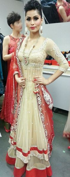 Wow i love thisthis has d traditional red bet yet it luks different nude is such a grt color for every outfit n occasion. #anarkali
