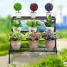 Nuevo 1 x planta Stand Metal Negro Hierro Maceta 3 niveles Jardín Hogar Boda Deco