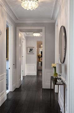 Home decorating ideas - transitional grey hallway with bright white woodwork, Rients Ltd Upper level hallway
