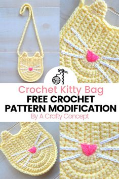 Mix your love for cats and crochet with this free crochet pattern modification- Crochet child size cat purse Purse Patterns Free, Crochet Purse Patterns, Bag Pattern Free, Crochet Purses, Tote Pattern, Sewing Patterns, Crochet Toddler, Crochet For Kids, Mochila Crochet