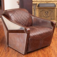 Modern Club Chair Aviator Pilot Design Top Grain Leather Metal Style  Brown New #Modern