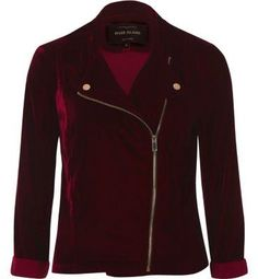 60435477ff1d River Island Womens Dark Red velvet biker jacket Riders Jacket