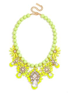 A tropical strand of jumbo lime beads is adorned with chartreuse pendants resembling cheeky pineapples. The addition of crystal work heightens the glam factor of this exotic, playful summertime statement. Crystal Pendant, Crystal Necklace, Beaded Necklace, Pendant Necklace, Bling Jewelry, Jewelry Box, Jewelry Making, Trendy Jewelry, Jewelry Necklaces