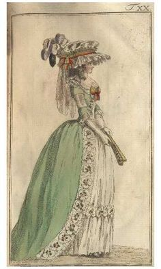 Journal des Luxus, 1786.  Love the green gown and the purple feathers!