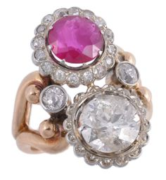 A ruby and diamond crossover dress ring