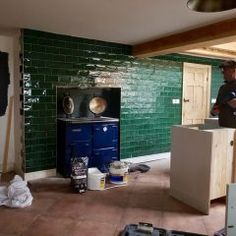 The Victorian Cottage Kitchen - Part 2 - Making Spaces Green tiled wall. Yellow Cottage, Old Cottage, Modern Cottage, Shabby Cottage, Coastal Cottage, Cottage Kitchen Backsplash, Cottage Kitchens, Grey Kitchens, Victorian Living Room