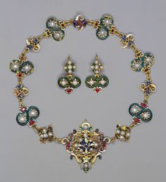 Parure with necklace, brooch and earrings; late 16th c. with 17th and 19th c. additions; Enamelled gold, pearls, rubies and emeralds- Queen Mary, consort of King George V, King of the United Kingdom (1867-1953)