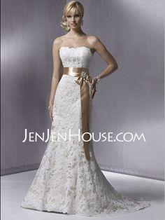 Wedding Dresses - $249.99 - Mermaid Strapless Chapel Train Satin  Lace Wedding Dresses With Lace  Sashes  Beadwork (002000431) http://jenjenhouse.com/Mermaid-Strapless-Chapel-Train-Satin--Lace-Wedding-Dresses-With-Lace--Sashes--Beadwork-002000431-g431