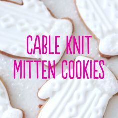 These white, glittery cookies look like knitted mittens and would make an adorable holiday gift!