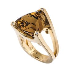 18kt yellow gold ring featuring a triangular step cut cognac citrine that is prong set with diamonds bezel set on each corner. It has a brushed and high p