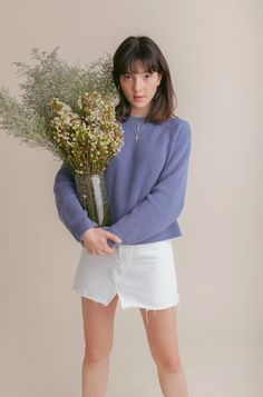 Hatch Sweater   Foundationals New Wardrobe, Wardrobe Staples, Blue Candy, Recycled Yarn, Hello Spring, Off Colour, How To Better Yourself, Vintage Denim, Warm And Cozy