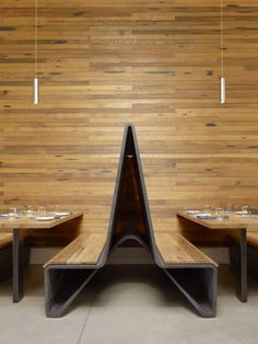 Ductal banquettes with reclaimed wood - Photo Credit: Matthew Millman