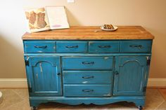 Colorful Dresser To Kitchen Island Upcycle Great idea!  Don't love this color but DO love this idea!