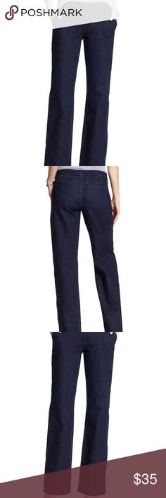 Rinse Trouser Jean Color: Rinse   Size: 28/6 Regular  PRODUCT DETAILS: Button closure with zip fly. Belt loops. Front off-seam pockets. Rear faux welt pockets.  FABRIC & CARE 70% Cotton, 28% Polyester, 2% Spandex. Machine wash. Imported.  FIT & SIZING Mid rise. Straight fit through hip and thigh. Wide leg.  Used only once. Excellent condition, like new. Buyer assumes all responsibility and by purchasing this item agrees that the item is as described. No refunds Banana Republic Pants Trousers