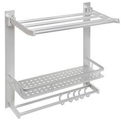 3-Tier Aluminum Bathroom / Kitchen Wall Storage Shelf Rack w/ Towel Bars and Fold-Up Top Shelf - MyGift® MyGift http://www.amazon.com/dp/B00R3VFLZI/ref=cm_sw_r_pi_dp_7Ksfwb08AMM3E