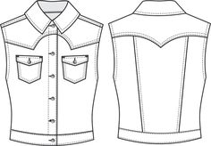 Jeans Drawing, Dress Drawing, Drawing Clothes, Flat Drawings, Flat Sketches, Technical Drawings, T Shirt Sketch, Waistcoat Designs, Modelista
