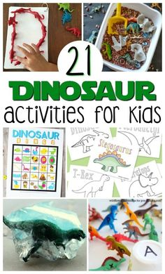 Check out this list of 21 Easy Dinosaur Activities For Kids that not only celebrate colossal creatures, but also entertain and educate children. There's everything from bingo, letter matching, and coloring, to all sorts of sensory activities and crafts. Dinosaurs Preschool, Toddler Preschool, Toddler Crafts, Preschool Themes, Preschool Crafts, Sensory Activities, Toddler Activities, Sensory Bins, Learning Activities