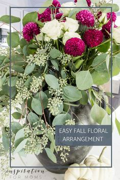 A fall floral arrangement doesn't have to be complicated or expensive. See how I made this one in about 10 minutes! #fallfloral #fallmumfloral #FallFlowers Pumpkin Floral Arrangements, Fall Arrangements, Wheat Centerpieces, Floral Centerpieces, Modern Fall Decor, Fall Mums, Pumpkin Flower, Autumn Garden, Fall Flowers