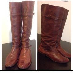 "Frye boots In great condition! Beautiful cognac and soles have been recobbled and calf circumference is 17"". These go right up to the knee. If you have any questions please feel free to ask! Frye Shoes Over the Knee Boots"