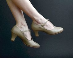 Nude T-strap Heels  Tan 20's Style Dancing Shoes  by continuall