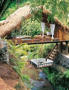 Lounge over a river!