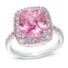 Cushion-Cut Lab-Created Pink Sapphire Ring in Sterling Silver - Size 7 - Zales