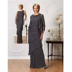 Custom Made Gray Chiffon Long Sleeve Mother Of The Groom Dresses Ankle Length Vintage Lace Tiers With Jacket Mother Of Bride Party Gowns Cheap Formal Gowns, Formal Dresses With Sleeves, Mob Dresses, Tea Length Dresses, Dresses 2016, Bride Dresses, Fall Dresses, Mother Of The Bride Fashion, Mother Of The Bride Gown