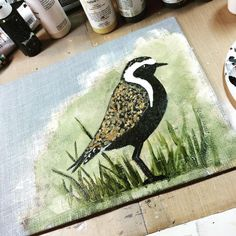 I love it when what is my head turns out the same way on canvas! #art #mixedmedia #birds #nature #wildlife