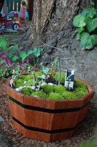 Child's outdoor fairy garden playscape. Imaginative play holds an enormous place in the lives of children. Fantastical fun!