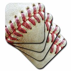 3dRose cst_47841_4 Closeup Red Seams on Baseball Ceramic Tile Coasters Set of 8 >>> You can get additional details at the image link. (This is an affiliate link)