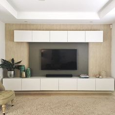 Extravagant Basement Renovation On a Budget Ikea Tv, Ikea Hack, Media Room Design, Living Room Tv Unit Designs, Tv Wall Decor, Ikea Living Room, Media Wall, Media Consoles, Built Ins