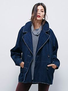 The jacket you need for fall // Denim Car Coat   Double-breasted denim coat with lapel and hip pockets.
