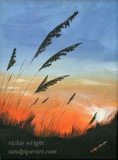 sunrise sunset painting , ocean landscape , beach painting , beach wall art , nautical art. $30.00, via Etsy.