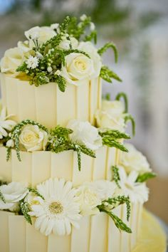 Pale Yellow Wedding Cake with Roses & Greenery