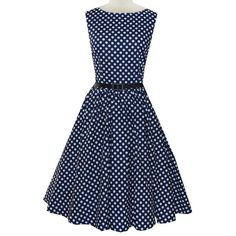 Blue Polka Dot Audrey Hepburn Swing Dress Sleeveless Rockabilly... ($43) ❤ liked on Polyvore