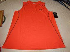 Under Armour UA active heatgear Mens slvlss t shirt XXL Fitted 1257467 orang 810 #UnderArmour #sleevelesstshirt