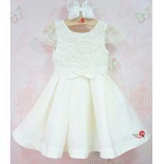 Vestido de Festa Infantil Branco Bordado à Mão Luxo Petit Cherie