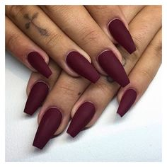 Matte burgundy nails @KortenStEiN ❤ liked on Polyvore featuring beauty products, nail care and nails