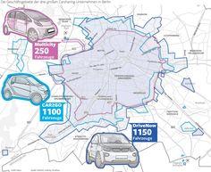 Wir haben mal die Geschäftsgebiete der drei größten Berliner Carsharing-Unternehmen verglichen. Innerhalb dieser kann man das Share-Auto abstellen oder anmieten.  Erschienen in der Berliner Morgenpost. Infografik: Babette Ackermann-Reiche und Christian Schlippes