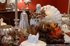 fall centerpieces with pottery   ... Tablescape Table Setting with Pottery Barn Rustic Turkey Centerpiece