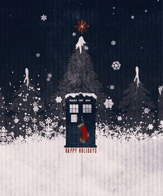 Happy (W)holidays!I don't care what's going to happen this christmas.This is just my way to wish you all happy holidays!:DOCTOR WHO: CHRISTMAS (ANIMATED):. Doctor Who Christmas, I Am The Doctor, Christmas Time Is Here, Merry Christmas, Blue Box, Geek Out, Cute Gif, Dr Who, Merry And Bright