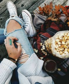 Ripped jeans and autumn leaves  Pinterest ~ @megglou