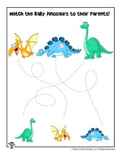 Easy Dinosaur Tracing Matching Worksheet | Woo! Jr. Kids Activities