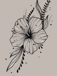 Flower Art Drawing, Pencil Drawings Of Flowers, Flower Sketches, Art Drawings Sketches, Hibiscus Flower Drawing, Beautiful Flower Drawings, Flower Tattoo Drawings, Tropical Flower Tattoos, Flower Tattoos On Thigh