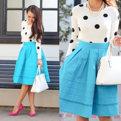 Polka dot top, midi skirt and pop of pink pumps with white purse   StylishPetite.com