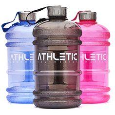 Water Jug - Sport Trinkflasche - Waterjug - Wasserflasche - Gym Bottle - Trainingsflasche - Water Bottle - Fitness Bottle - Wasser Kanister 2.2 Liter - Trinkflasche - ATHLETIC AESTHETICS - Schwarz