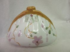 Purse Shaped Bank Pink Flowers Porcelain by PorcelainChinaArt